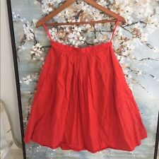 Anthropologie Odille Poppy Red Cotton pleated skirt with side pockets Size 6