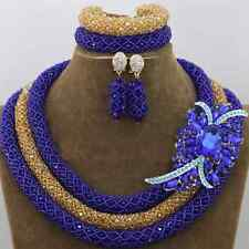 Blue and Gold Nigerian Crystal Wedding Party beads necklace Earring Bracelet set