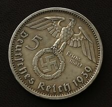 German WWII / WW2 Original. Relic 5 Mark Silver coin with Hindenburg ( 1939 A )