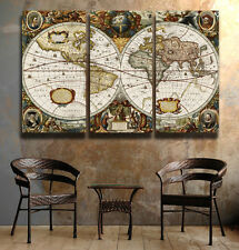 Beautiful Medievil World Map 1600's FRAMED Canvas prints Triptych