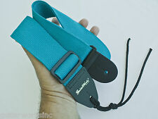 Guitar Strap Teal Nylon Thick Leather Ends For Acoustic & Electric Made In USA
