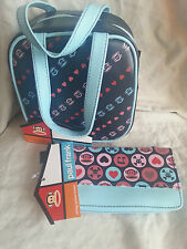 Paul Frank Satchel Purse and Wallet Set Julius Monkey Face Heart Blue New W Tag