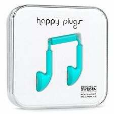 Happy Plugs In-Ear Headphones W/ Mic & Remote iPhone & Android Smartphone -BLUE