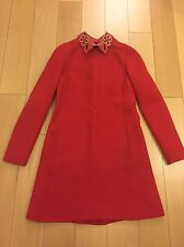 Valentino Long Sleeve Mini Dress With Jeweled Leather Collar Size 2
