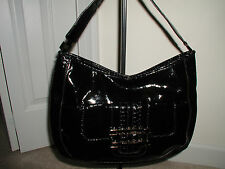 Anya Hindmarch Target Mock Patent Leather Extra Large Black Shoulder Bag Purse