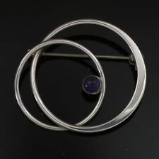 Danish Sterling Silver brooch made by N.E.From set with Amethyst Denmark