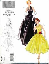 VOGUE SEWING  PATTERN 2962 MISSES 4-10 RETRO 1957 ROCKABILLY STYLE HALTER DRESS