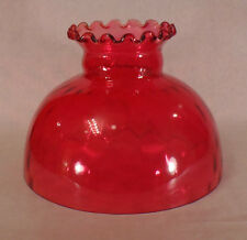 "10"" Glass Cranberry Dot Optic Student Oil Lamp Shade Crimped Top fits Aladdin"