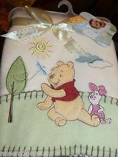 DISNEY BABY BLANKET WINNIE POOH PIGLET TREE BUTTERFLY SUN CLOUD GREEN FLEECE