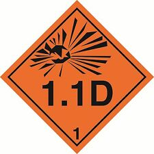"Health and safety Hazard sticker Explosive 1.1D sticker 5"" orange"