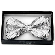 NEW UNISEX PRETIED BOWTIE WEDDING TUXEDO SPARKLE BOW TIE ~ SILVER SEQUINS BOT505