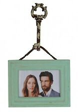 Vintage Inspired Picture Frame 6×4 with Chain & Key Hook Hanger TEAL New