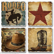 Mixed Absorbent Stone Coasters Set 4 Western Rodeo Texas