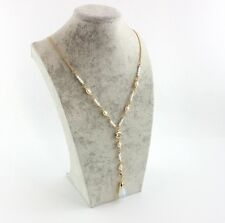 Elegant Light Blue Drop Pendent Pearls Chain Lady's Necklace
