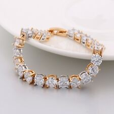 18k White & Yellow Gold Filled 6mm Clear Sapphire Crystal WOmen Bangle Bracelet