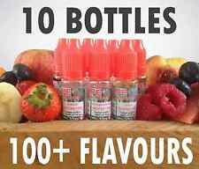10 x 10ml BOTTLES E LIQUID E-LIQUID REFILL SHISHA HOOKAH JUICE multiple FLAVOURS