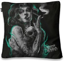 Liquorbrand Sexy Tattooed Woman Skull Halloween Bed Couch Throw Pillow Cover
