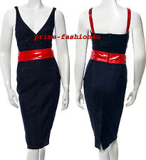 Dolce & Gabbana D&G Dark Blue Denim Lacquered Red attached Belt Dress