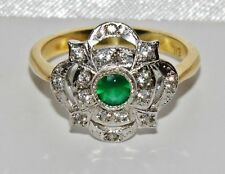 ART DECO 9 CT YELLOW GOLD ON SILVER EMERALD CLUSTER RING - size Q