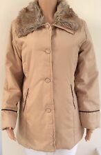 Claire Neuville Sand Beige Lightweight Lightly Padded Fur Trim Coat Size 14 - 16