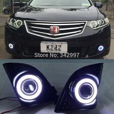 2x LED DRL Daytime Fog Lights Projector+angel eye kits For Honda Spirior 2009-12