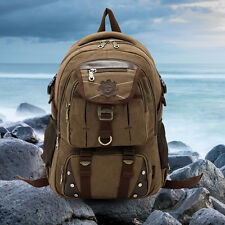 Vintage Men Military Canvas Leather Hiking Backpack School Bag Travel Rucksack