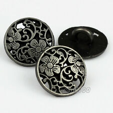 12PCS Zinc Alloy Pierced Round Flower Carving Shank Buttons 12mm 20L 1/2""