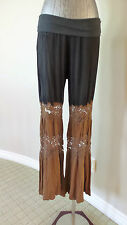 T-PARTY Black & Brown Cotton & Lace YogaLounge Pants Size Small NWT