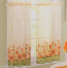 Country Sunflower Green Yellow Kitchen Curtain 24L Tier Set S Lichtenberg