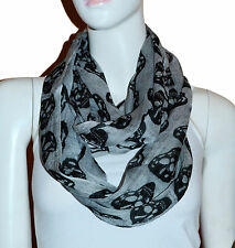 New Grey/Black Skull Light Weiget  X-Lgrge Infinity Scarf Loop Cowl