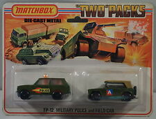 DTE LESNEY MATCHBOX TWIN PACKS TP-12 MILITARY 20 POLICE PATROL & 18 FIELD CAR