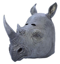 RHINOCEROS RUBBER ADULT AFRICAN ANIMAL MASK FANCY DRESS COSTUME ACCESSORY