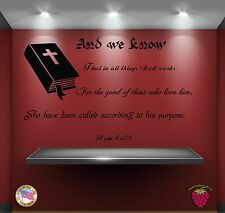 Wall Stickers Bible Quotes Verses Rom 8:28: And we know that in all things zz003