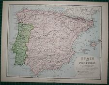1878 ANTIQUE MAP ~ SPAIN & PORTUGAL BALEARES MALLORCA PITHYUSES