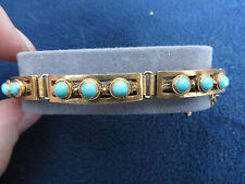 VINTAGE CHINESE GOLD GILT STERLING SILVER EXPORT FILIGREE TURQUOISE BRACELET