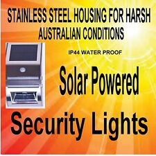 2 X SOLAR POWERED  STAINLESS STEEL SAFETY MOTION CENSOR LIGHT  IP44 WATER PROOF