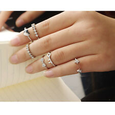 Set of 6 Different Styles Silver Urban Crystal Above Knuckle Band Midi Rings