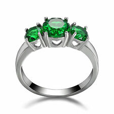 14KT Women's White Gold Filled Engagement Ring Emerald 3 Stone Jewelry Size 5.5