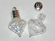 1pc little Bubble Heart Glass bottle vial charm small necklace urn pendant NEW*