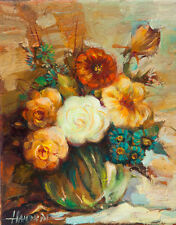 Flowers / Original Oil On Stretched Canvas by Sergej Hahonin / 20 x 25 cm