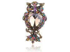 Rainbow Colorful Crystal RhinesPuffed Feathers Cocky Mad Owl Bird Fly Ring New