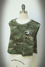 OBEY Size XS/S Crop Top Camouflage American Bald Eagle Cut Wide