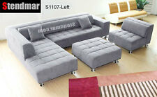 4PC GREY MICROFIBER SECTIONAL SOFA CHAISE CHAIR OTTOM S1107LG