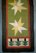 Handmade Star Table Runner Tree Greeen Tan Floral Quilted