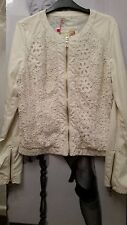 "WOMEN IVORY JACKET/COAT ""BLUE DEISE FASHION"" PU soft Leather&croshet detail S-M"