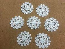 LM5 -10pcs 52mm WHITE Vintage LACE Crochet Fabric Flower Motifs, Patches GUIPURE