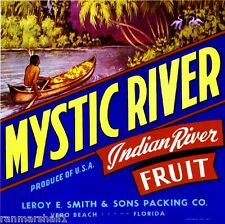 Vero Beach Florida Mystic River Orange Citrus Fruit Crate Label Art Print