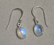 Handmade in 925 Sterling Silver, Rainbow Moonstone Oval Drop Earrings With Box