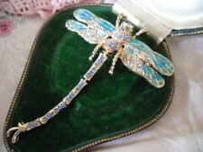 large Vintage rhinestone crystal Dragonfly gold pin brooch Dragon Fly green blue