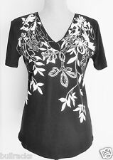 """NWT msrp $38: JM Collection Quality Tee Shirt Top, Glass Beads, PM, Bust 38"""""""